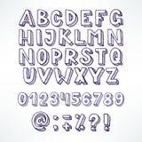 Blue hand-drawn font Stock Image