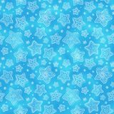 Blue hand-drawn snowflakes seamless pattern Stock Images