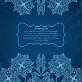 Blue hand-drawn square frame with flowers. Hand-drawn vector frame for text with flowers. Blue Royalty Free Illustration
