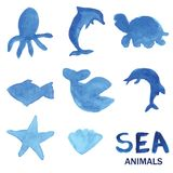 Blue hand drawn watercolor painted sea animals set. Royalty Free Stock Image
