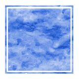 Blue hand drawn watercolor rectangular frame background texture with stains. Modern design element stock images