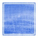 Blue hand drawn watercolor rectangular frame background texture with stains. Modern design element stock photos