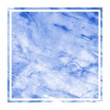 Blue hand drawn watercolor rectangular frame background texture with stains. Modern design element royalty free illustration