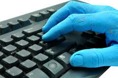 Blue hand Stock Image