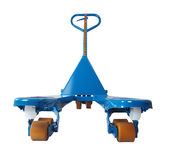 Blue hand pallet truck to lift and move pallets. Royalty Free Stock Photography