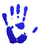 Blue hand-print. On white Stock Photo