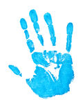 Blue hand print. Over the white background Stock Image
