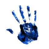 Blue hand print. On a white background Stock Photos