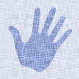Blue hand print on canvas texture. Vector illustration Stock Photos