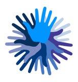 Blue Hand Print icon Stock Photos