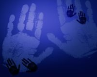 Blue hand prints. This is a scaned image of hand prints Stock Illustration
