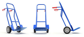 Blue hand truck diferent angle view Royalty Free Stock Photos