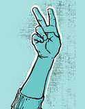 Blue hand- victory. Blue hand showing victory or peace sign grunge textured vector illustration Stock Photo