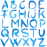 Blue hand-written alphabet Royalty Free Stock Images