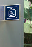 Blue Handicap Elevator Sign. Right and Below Copy space Royalty Free Stock Photo