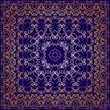 Blue handkerchief with golden ornament. Dark blue carpet with gold pattern. Stylish design vector illustration