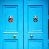Blue Handle In London Antique Brown Door Rusty Brass Nail And Stock Photography
