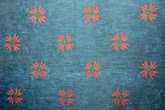 Blue handmade art paper with floral pattern Stock Image