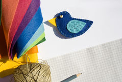 Blue handmade bird. Still life with blue handmade bird Stock Images