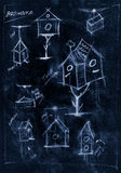 Blue handmade diagram of how to build a birdhouse Stock Photos