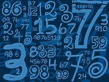 Blue handmade numbers math background Royalty Free Stock Photography