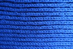 Blue handmade rib knit fabric. Blue hand made rib knit fabric from above Royalty Free Stock Image