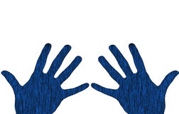 Blue hands. Illustrated image of blue hands   over white Royalty Free Stock Photo