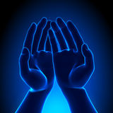 Blue Hands. Blank Blue Hands - Holding concept Stock Image