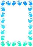 Blue hands border frame Stock Photos
