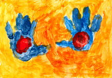 Blue hands on the orange background Royalty Free Stock Photos
