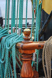 Blue hanged ship rope aboard a sailing ship Stock Images