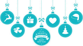1512003 blue hanging baubles christmas symbols Stock Image