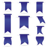 Blue hanging curved ribbon banners set eps10 Royalty Free Stock Photo