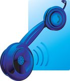 Blue hanging receiver. Illustration of Blue hanging receiver with sound Royalty Free Stock Images