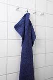 Blue hanging towel Royalty Free Stock Photo