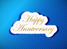 Blue happy anniversary card illustration Royalty Free Stock Photography