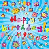 Blue happy birthday banner Royalty Free Stock Image