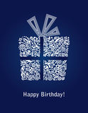 Blue Happy Birthday card with detailed white gift box ornament