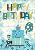 Blue happy birthday card for boys. Happy birthday card for boys, with blue, green and yellow colors Royalty Free Stock Photography