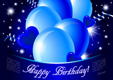 Blue happy birthday card. Jpg illustration with glossy balloons, confetti, hearts and stars Royalty Free Stock Photos