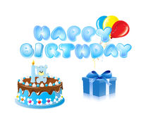 Blue Happy Birthday Text Background. Blue Happy Birthday Text and Cake Background Royalty Free Stock Images