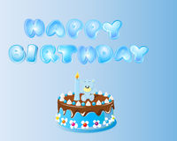 Blue Happy Birthday Text Background. Blue Happy Birthday Text and Cake Background Stock Photos