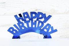 Blue Happy Birthday Text. Blue Happy birthday  sign for greeting cards Royalty Free Stock Images
