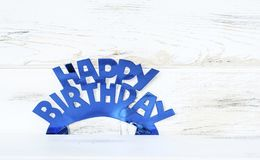 Blue Happy Birthday Text. Blue Happy birthday  sign for greeting cards Stock Photo