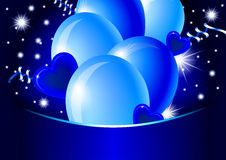 Blue happy card. Illustration with glossy balloons, hearts and stars Stock Photography
