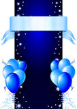 Blue happy card. Blue invitation card - jpg illustration with glossy balloons, ribbon, confetti and stars Royalty Free Stock Photos