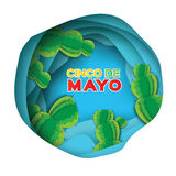 Blue Happy Cinco de Mayo Greeting card. Paper cut Ssucculents. Blue Happy Cinco de Mayo Greeting card. Origami Mexican succulents. Mexico, Carnival. Paper cut Royalty Free Stock Photos
