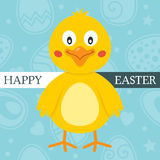Blue Happy Easter Card with Cute Chick Stock Photography