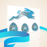 Blue happy Easter card with egg and bunny fr Royalty Free Stock Photo