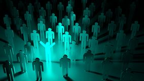 Blue happy glowing man standing in a group of ordinary people Royalty Free Stock Photos